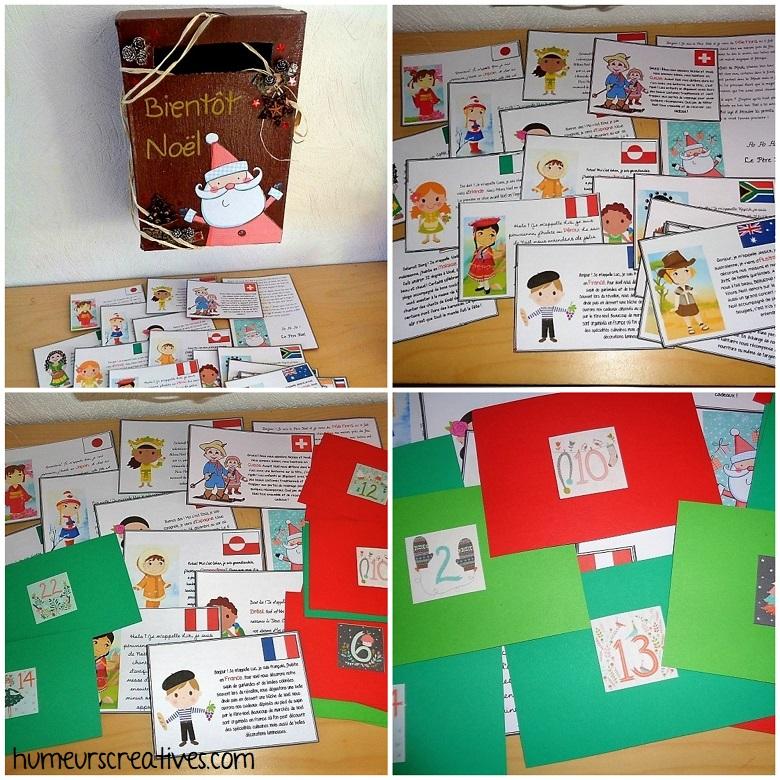 fabrication des cartes des enfants du monde - boite aux lettres de l'avent