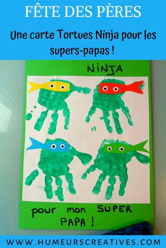 Bricolage pour les papas ; une carte tortues ninja et un décapsuleur à décorer