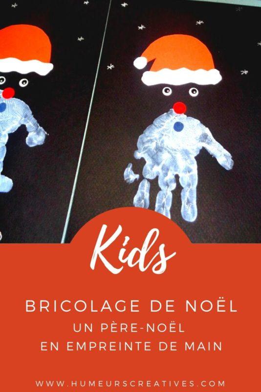 Bricolage de Noël pour enfants : un père noel en empreinte de main