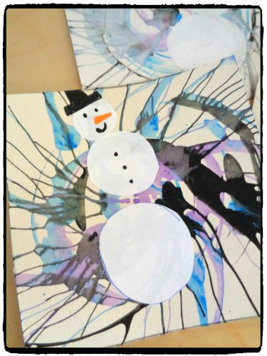 Triptyque de bonhommes de neige