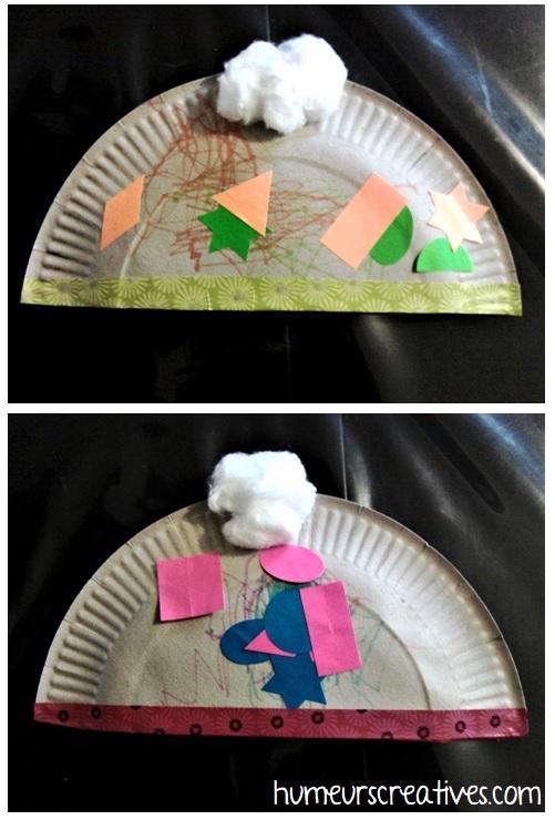 bonnet fabriqué avec une assiette en carton