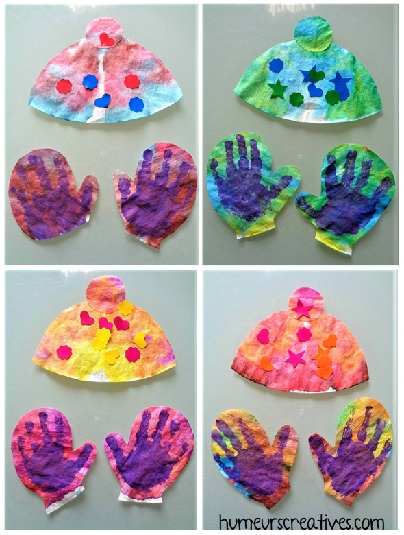 fabriquer des gants et bonnets avec les enfants en filtre à café