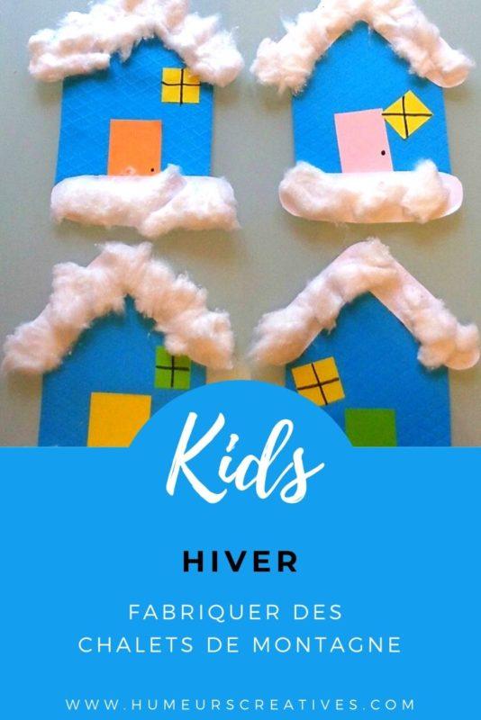 Bricolage d'hiver pour enfants ; fabriquer des chalets de montagne