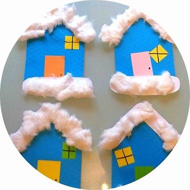 bricolage d'hiver à faire avec les enfants : chalets de montagne