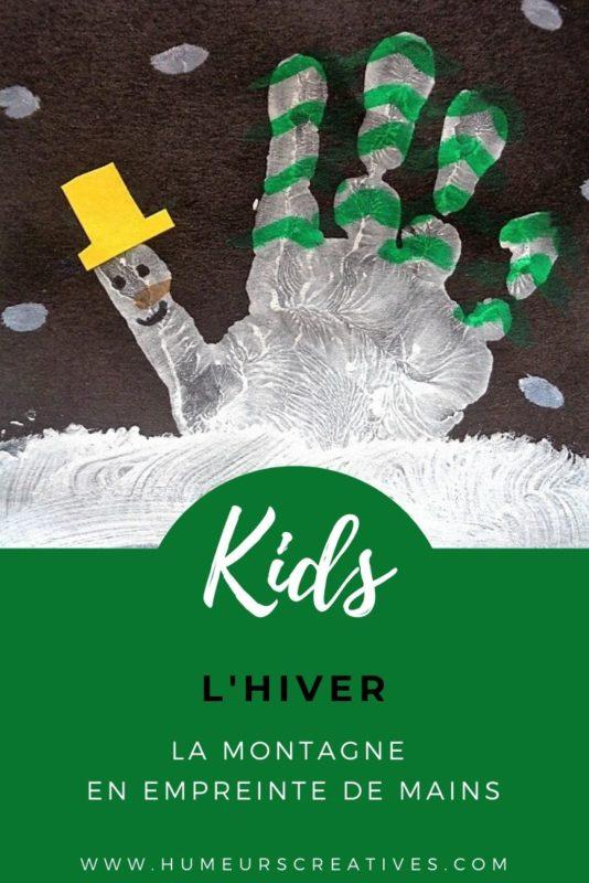 la montagne en empreinte de main : bricolage d'hiver pour enfants