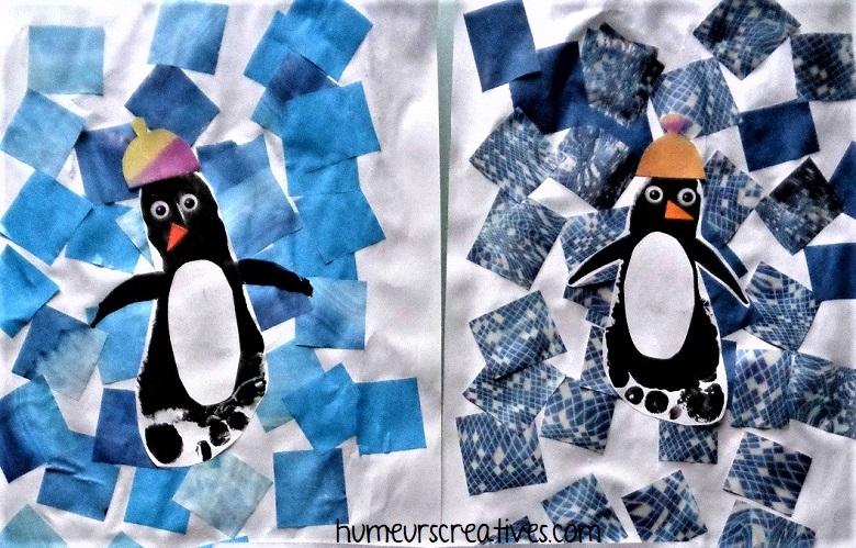 pingouins en empreintes de pied peinture