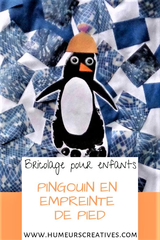 Pingouin en empreinte de pied à faire avec les enfants