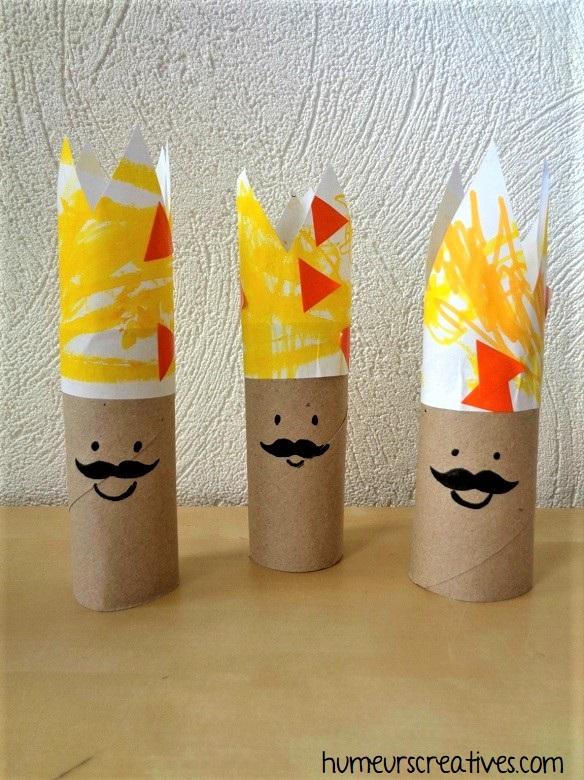 fabriquer des rois avec des rouleaux de papier toilette
