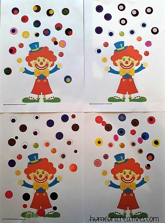 clown jongleur avec des gommettes