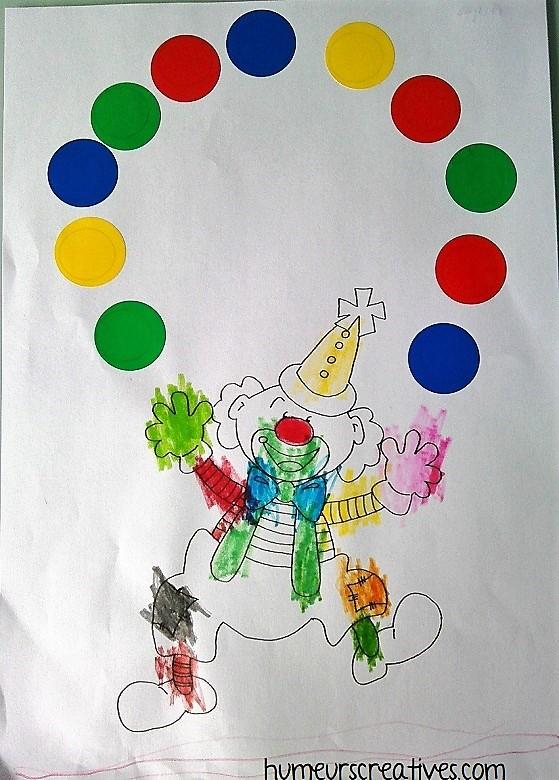 gommettes enfants : clown jongleur