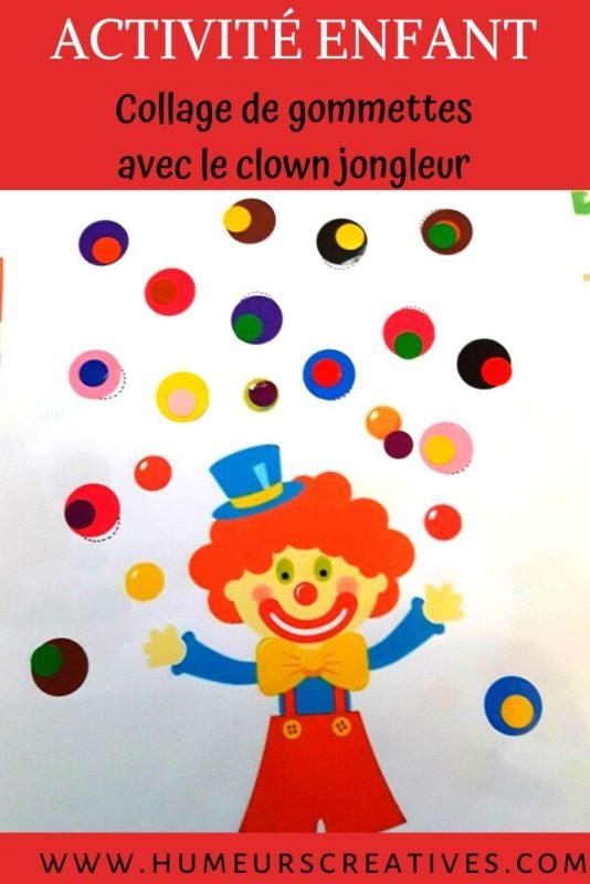 Gommettes clown pour enfants à imprimer
