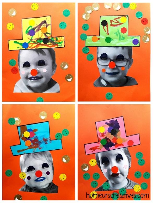 enfants déguisés en clowns