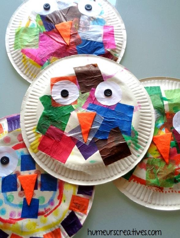 chouettes réalisées avec une assiette en carton et des morceaux de papier collés
