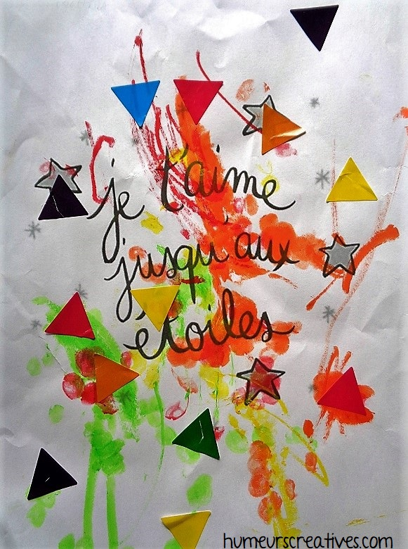 affiche je t'aime jusqu'aux étoiles, décorée par les enfants