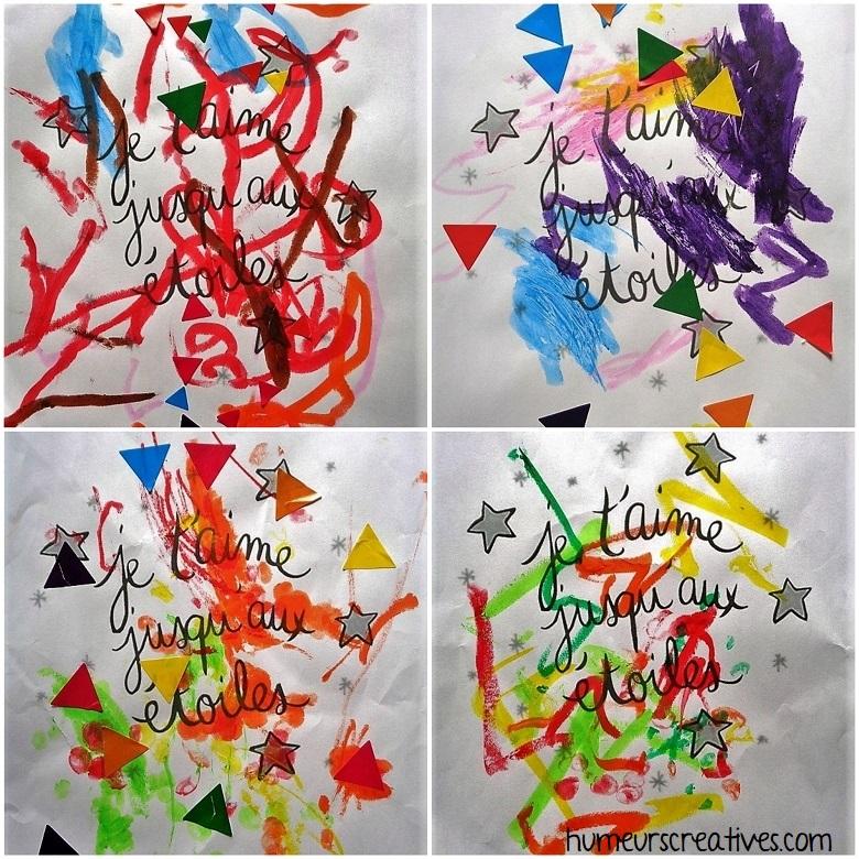Coloriage je t'aime jusqu'aux étoiles (bricolage pour enfants)