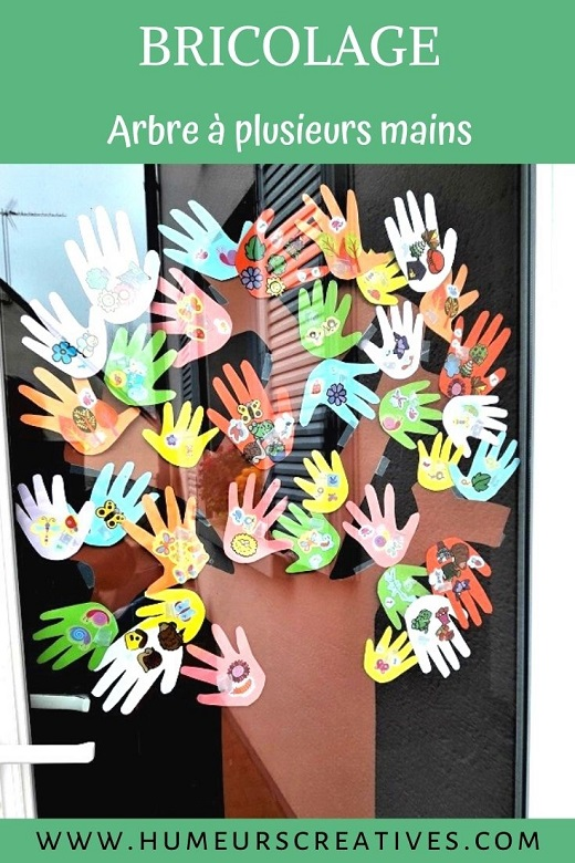 Bricolage de printemps : arbre à plusieurs mains d'enfants