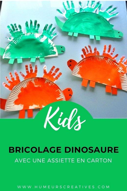 activité manuelle pour enfants : fabriquer un dinosaure avec une assiette en carton