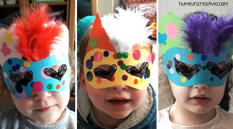 masques de carnaval décorés par les enfants
