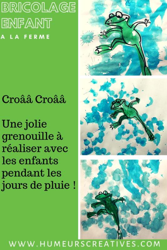 bricolage pour enfant : représentation de la comptine il pleut il mouille c'est la fête à la grenouille