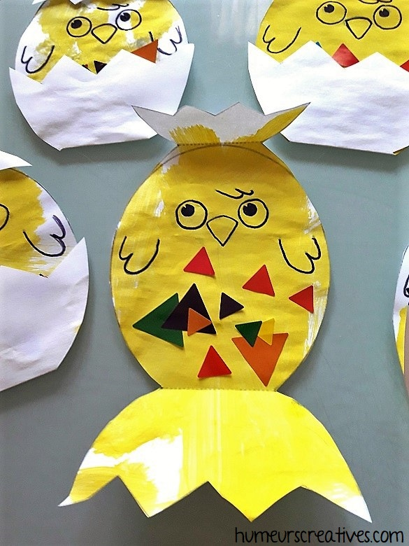 notre poussin de pâques décoré par les enfants
