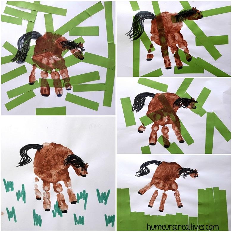 nos chevaux en empreintes de mains