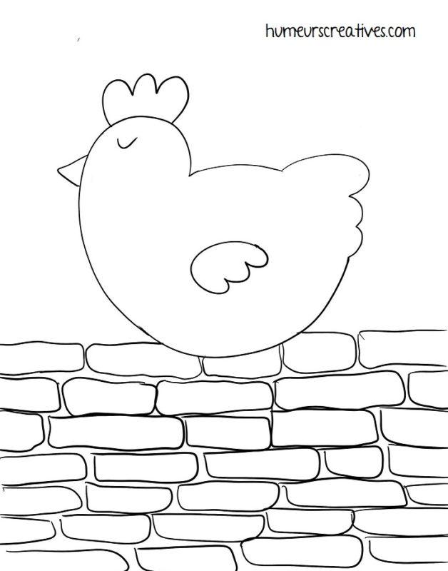 gabarit à imprimer poule sur un mur