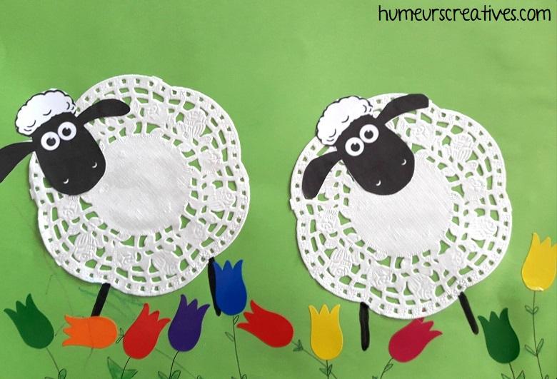 moutons avec napperons en papier 2