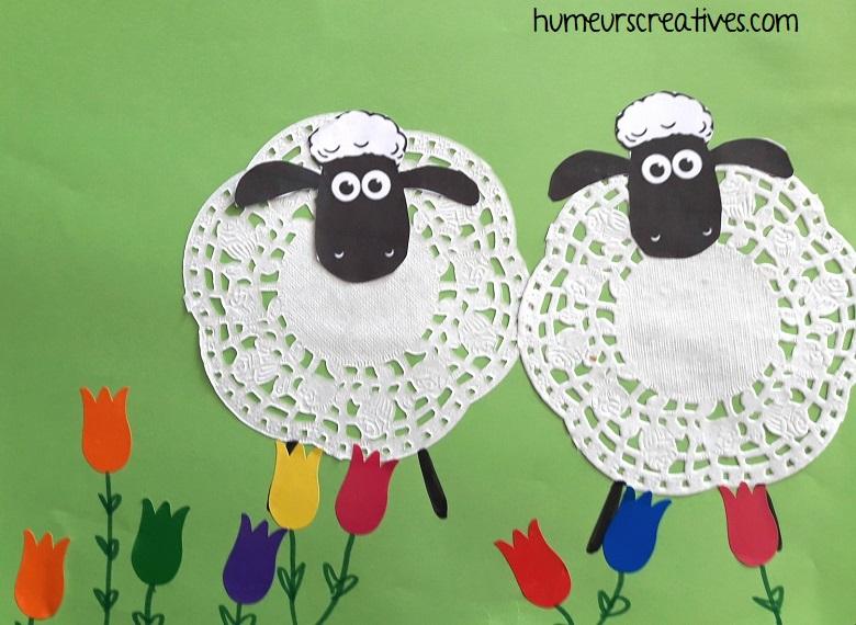 moutons avec napperons en papier 1