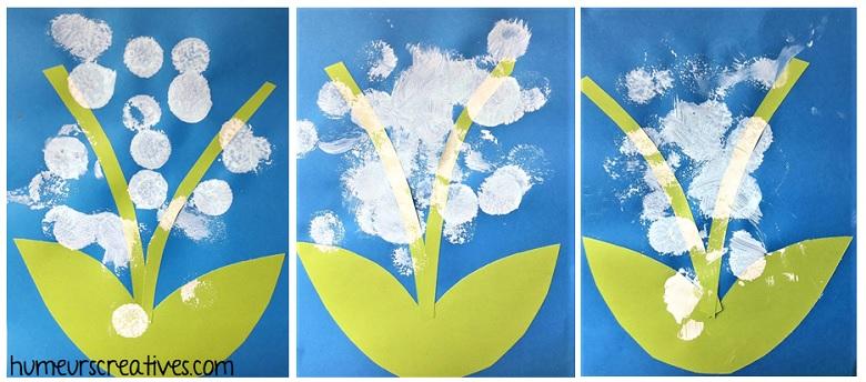 muguet réalisé avec de la peinture et des tampons mousses