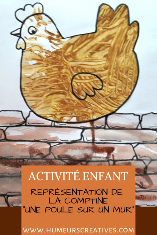 Bricolage pour enfant  : une poule sur un mur