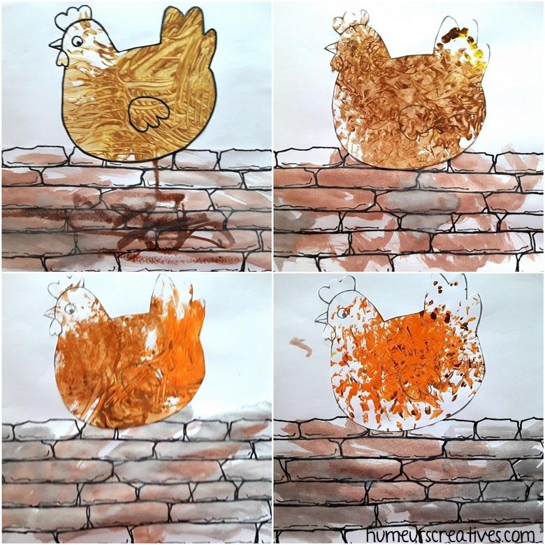 Représentation de la comptine Une poule sur un mur