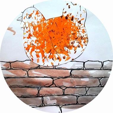 Bricolage pour enfant : représentation de la comptine une poule sur un mur
