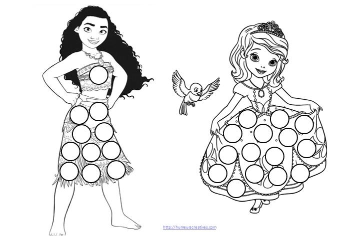 planches de gommettes à télécharger sur les princesses