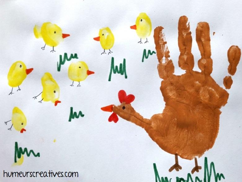 bricolage enfant : empreinte de main pour la poule et empreintes de doigts pour les poussins