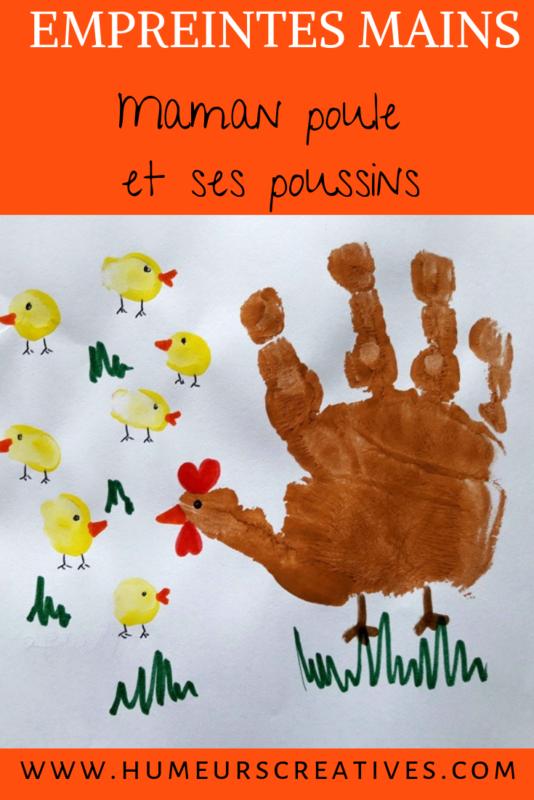 empreintes de mains enfant : poule et poussins