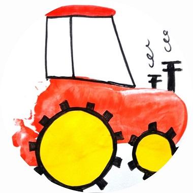 Bricolage pour enfants ; un tracteur en empreintes de pied