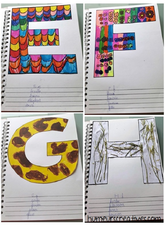 alphabet artistique e à h