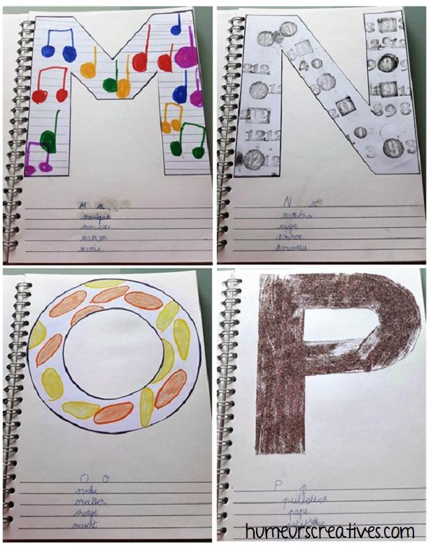 alphabet artistique m à p