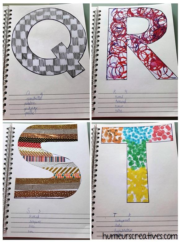 alphabet artistique q à t