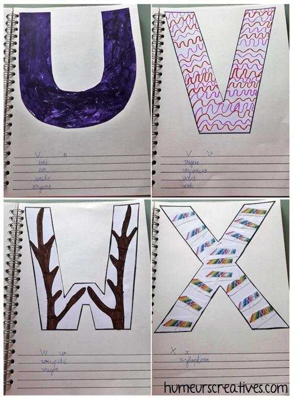 alphabet artistique u à x