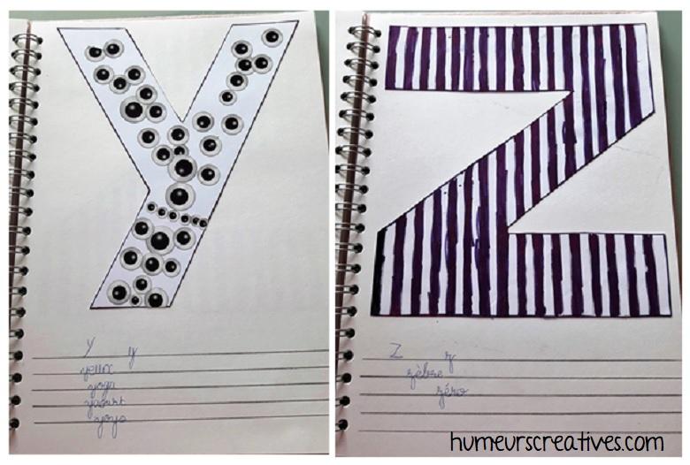 alphabet artistique y et z
