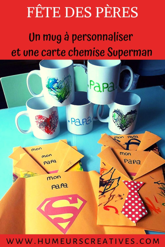 bricolage pour la fête des pères : un mug à décorer et une carte chemise superman