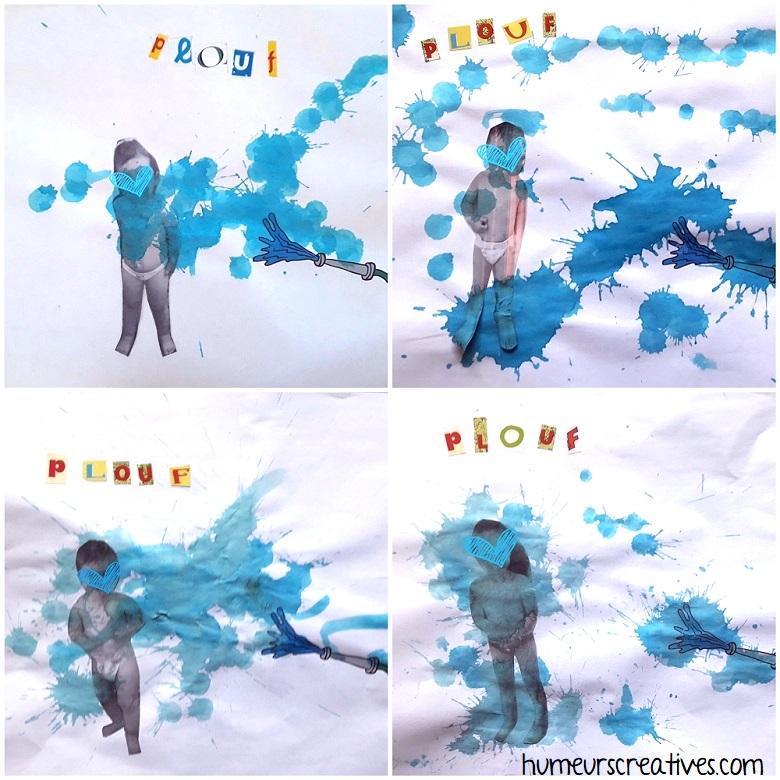 bataille d'eau à dessiner avec les enfants