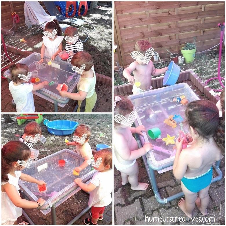bac sensoriel avec de l'eau pour les enfants