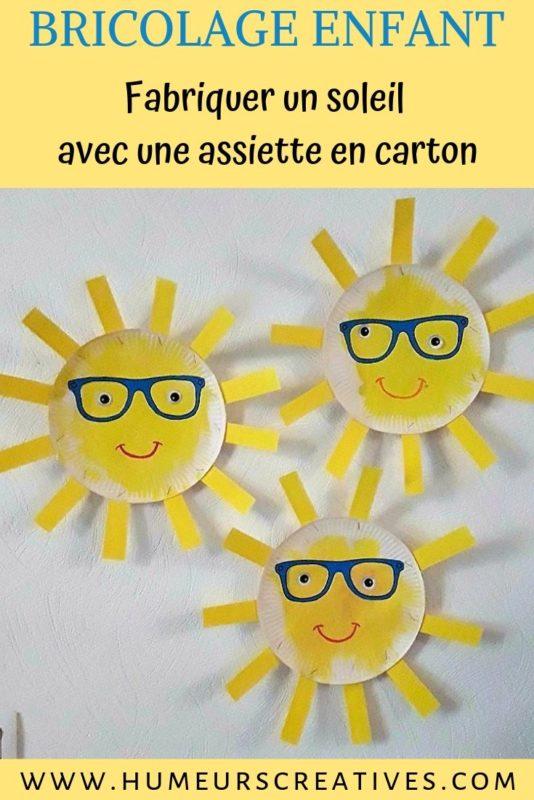 Bricolage pour enfants : réaliser un soleil avec une assiette en carton