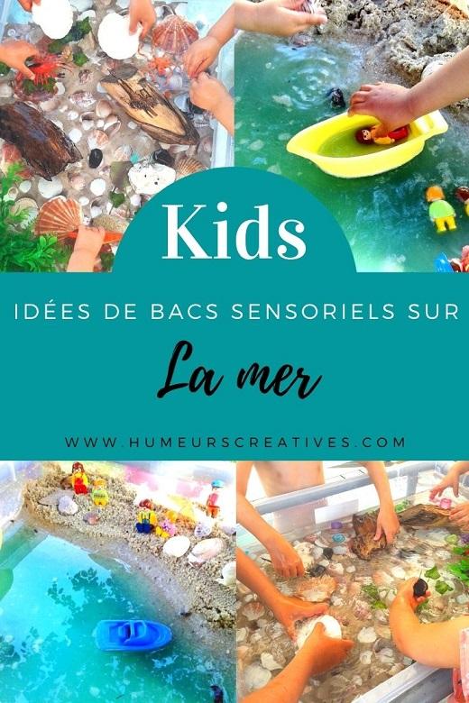 Idées bacs sensoriels pour les enfants sur le thème de la mer
