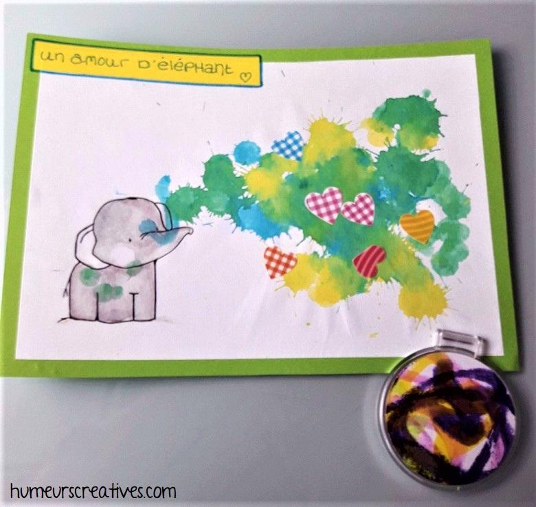 carte amour d'éléphant + miroir de poche personnalisé