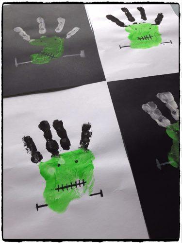 Petits Frankestein en empreintes de mains