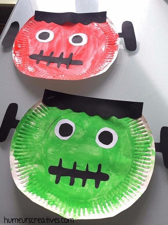 Fabriquer Frankestein avec une assiette en carton - bricolage pour enfants