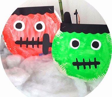 bricolage halloween : frankestein en assiette en carton